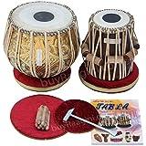 Tabla Set, Maharaja Musicals, 3.5 Kg Designer Golden Brass Bayan, Sheesham Tabla Dayan, Professional Drums, Padded Bag, Book,