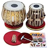 Maharaja Musicals Tabla Drum Set, 3.5 Kilogram Designer Golden Brass Bayan, Finest Sheesham Dayan, Padded Bag, Book, Hammer, Cushions, Covers, Tablas Tabla Drums (PDI-FG)