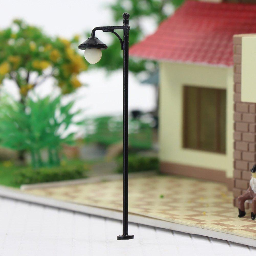 LYM22 10pcs Model Railway Train Lamp Post Street Lights HO OO Scale LEDs NEW by Evemodel (Image #2)