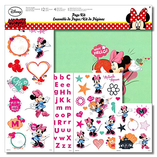 - Disney Minnie Mouse Scrapbooking Page Kit With Minnie Mouse Stickers, Minnie Mouse Paper, and Minnie Mouse Chipboard Punch-Outs