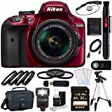 Nikon D3400 DSLR Camera with 18-55mm AF-P DX Lens (Red) + Sony 32GB UHS-I SDHC Memory Card (Class 10) + Remote + Card Readed + Tripod + Flash Bundle