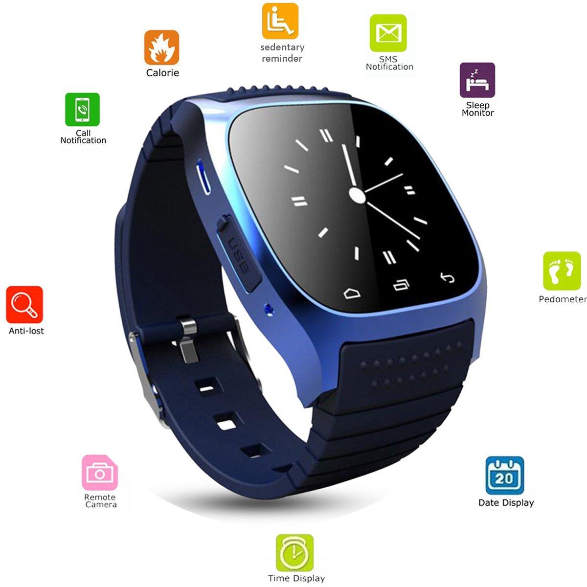 Smart Watch Bluetooth smartwatch Touch Screen Wristwatch Sports Fitness Tracker Sleep Monitor Pedometer Camera Remote for Men Women Girls Boys for ...