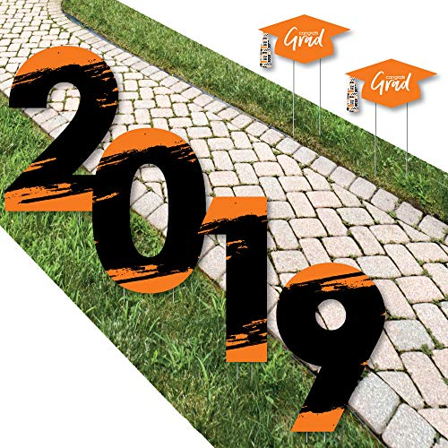 Big Dot of Happiness Orange Grad - Best is Yet to Come - 2019 Yard Sign Outdoor Lawn Decorations - Orange Graduation Party Yard Signs - 2019