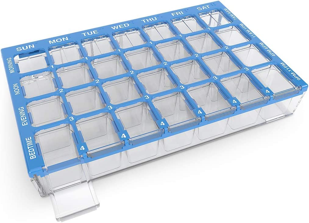 Ezy Dose (7-Day) Pill, Medicine, Vitamin Organizer Box | Weekly, 4 Times a Day, AM PM | Small Compartments | Clear Lids