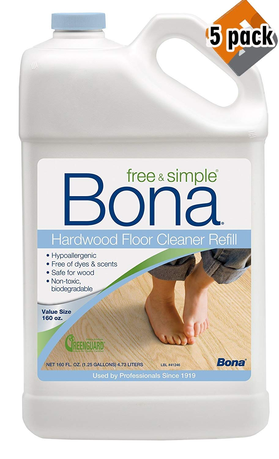 Bona 160oz Free & Simple Hardwood Floor Cleaner Refill, 5 Pack by Bona (Image #1)