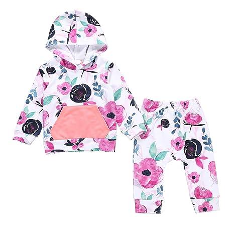 Bebé niña Chándal Outfit manga larga estampado flor Hoodies Pull ...