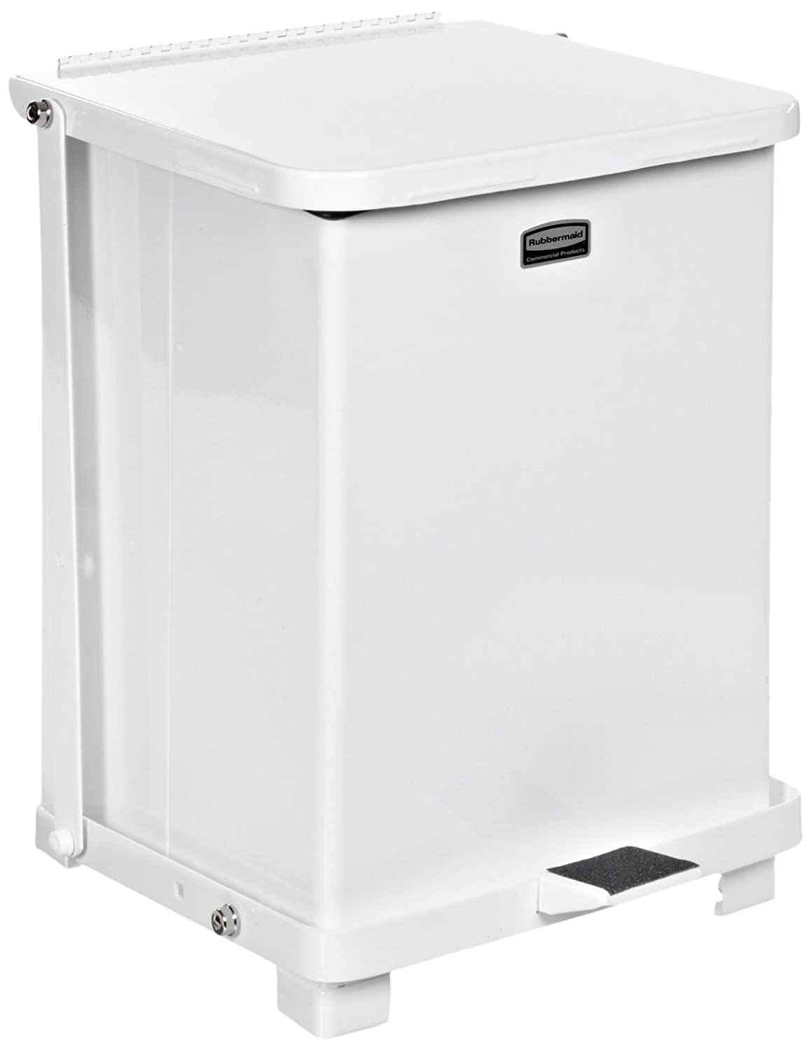 Rubbermaid Commercial Defenders Step-On Trash Can with Plastic Liner, 40-Gallon, White