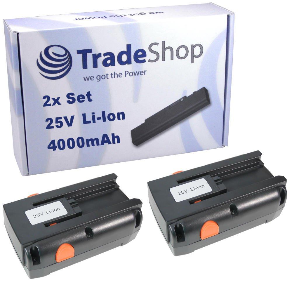 2x Hochleistungs Li-Ion Akku 25V / 4000mAh ersetzt Gardena 04025-20, 8838, 4025-20 für Gardena Spindelmäher 380LI 380C 380EC