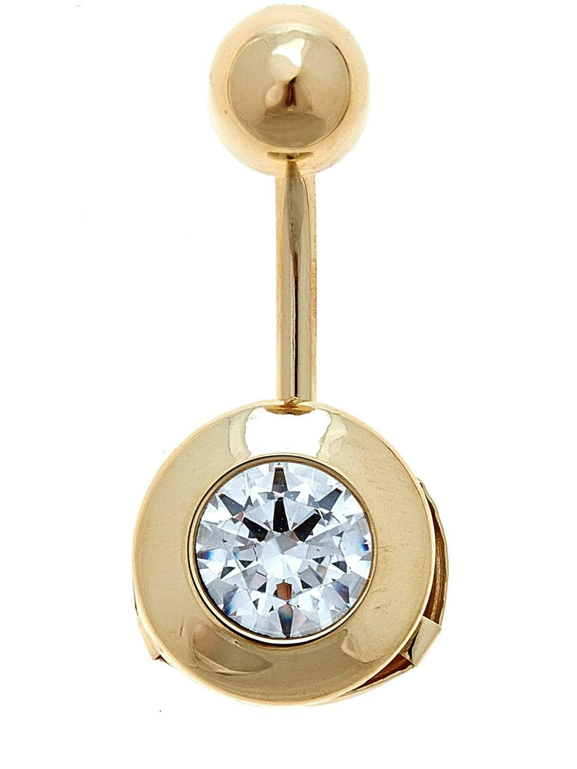 Zahaav Jewelry 10KT Solid Yellow Gold Round Belly Button Ring with CZ
