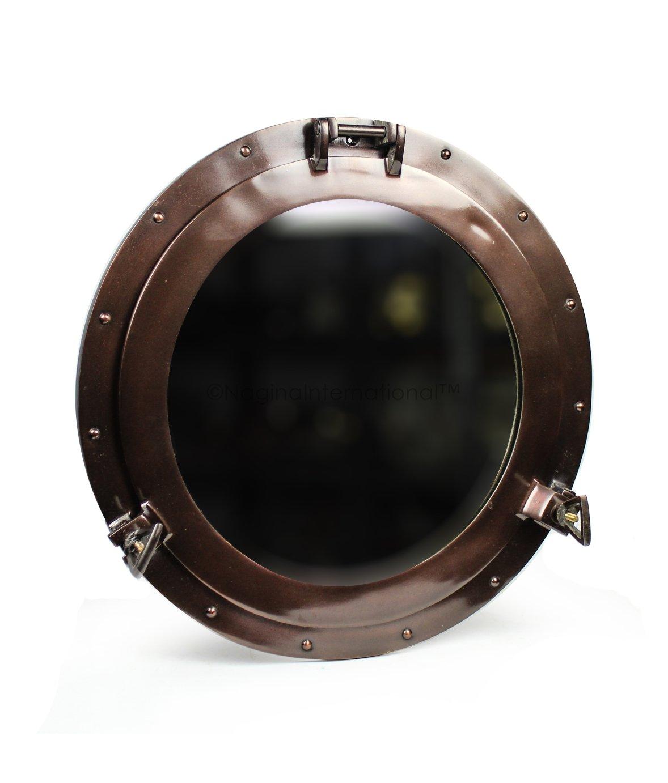 8 Pouces, Cuivre Antique Accent de d/écor Mural Exclusif Nagina International Miroirs de hublot de Bateau de Pirate d/époque Vintage Nautique en Aluminium /à rev/êtement en Poudre