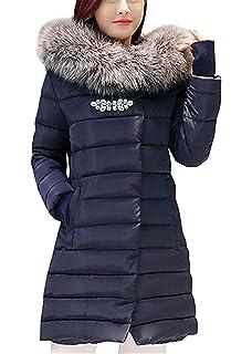Doudoune Manteau Femme Hiver Chaud Mode Veste A Capuche Poches Latérales  avec Fermeture Éclair Bouton Basic… 6c3f65ac065