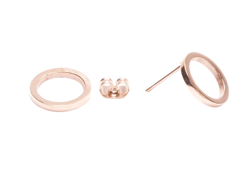 daecf32a13291 Open Circle Stud Earrings in Rose Gold | Minimalist Round Earrings Titanium