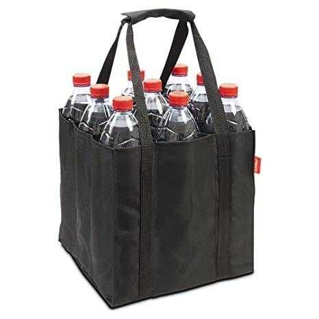 achilles 9er Bottle-Bag, Bolsa para Botellas de 9 x 1.5 litros, Maletín con Paredes divisorias, Negro, 27 cm x 27 cm x 27cm