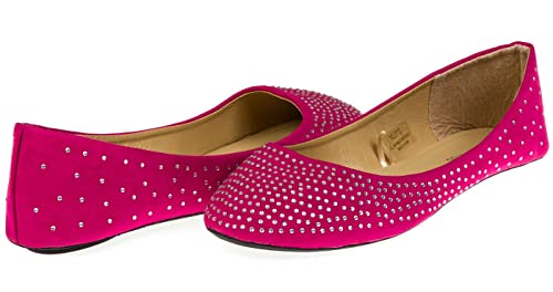 532ced0f6 Chatties Ladies Microsuede Ballet Flats with Rhinestones Size 5/6 - Berry