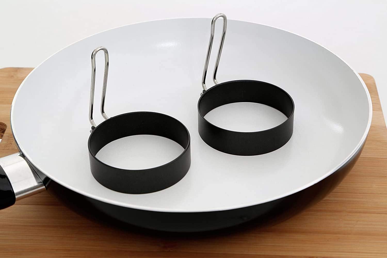 moldes de huevo de tortilla de acero inoxidable para s/ándwiches de huevo frito anillos de cocci/ón antiadherentes con asas plegables 2 piezas de anillos de huevo frito