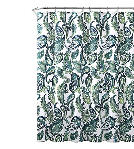 Decorative Blue Green Fabric Shower Curtain: Watercolor Floral Paisley Design, 72