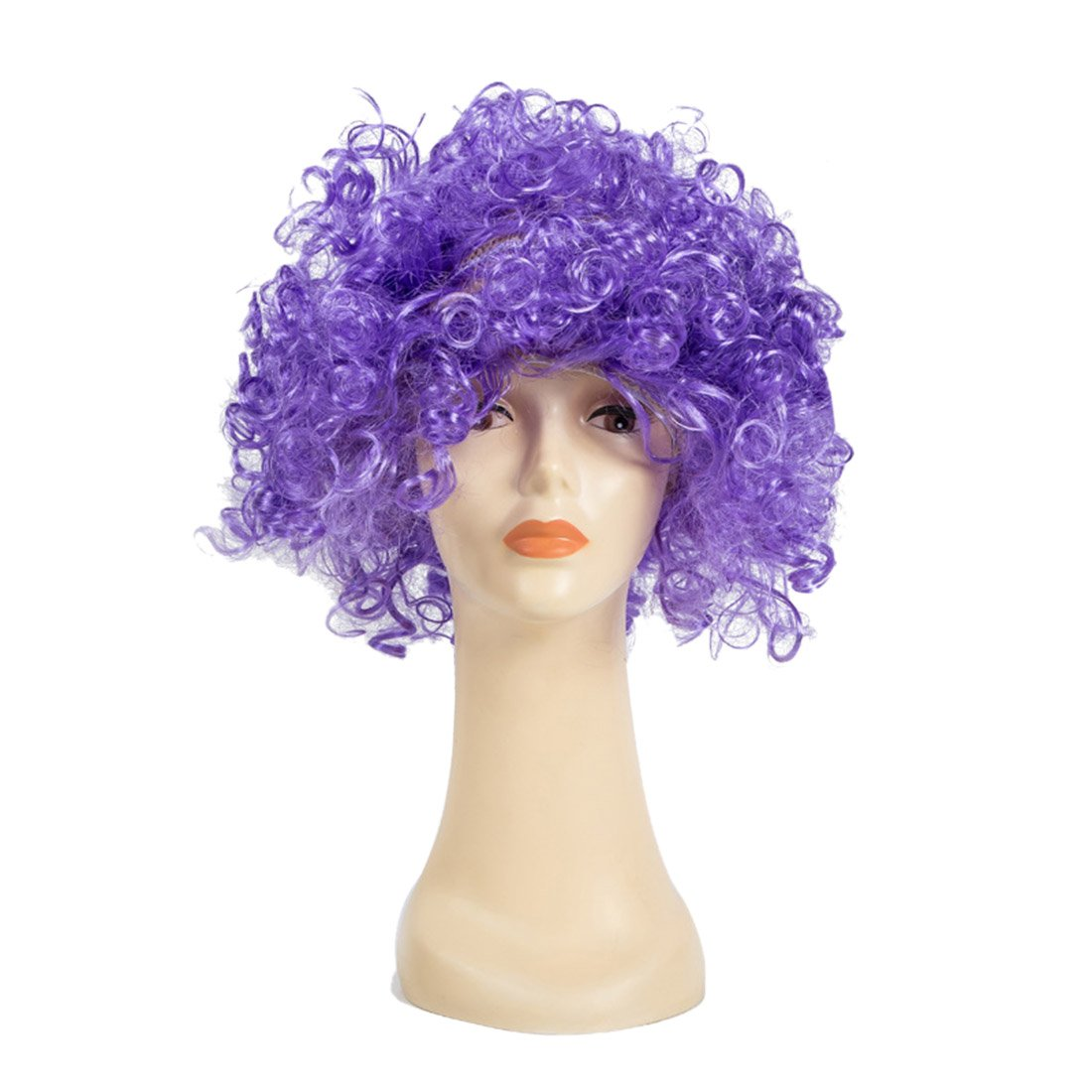 Jiyaru Halloween Afro Wig Curly Clown Costume Unisex Adults Kids Party Fun Hair Purple