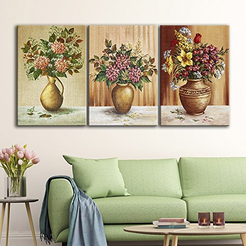 3 Panel Vintage Style Flowers in Vases x 3 Panels