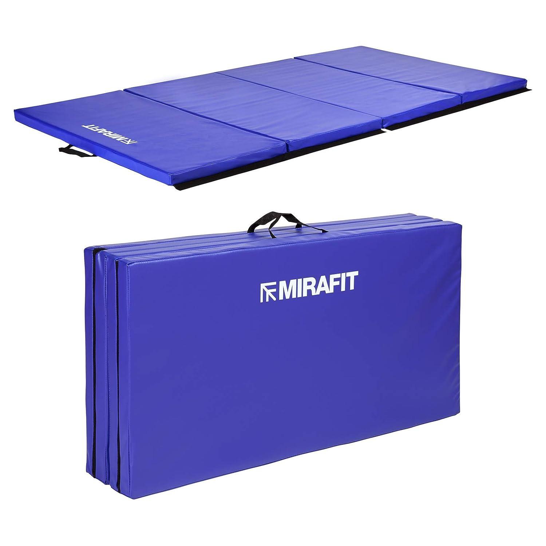 MiraFit große, zusammenklappbare Gymnastik- und Übungsmatte, 243 cm - Blau