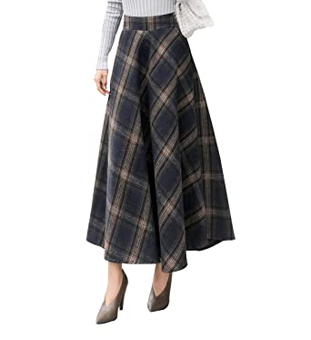 2018 herbst und winter wolle hohe taille retro plaid rock
