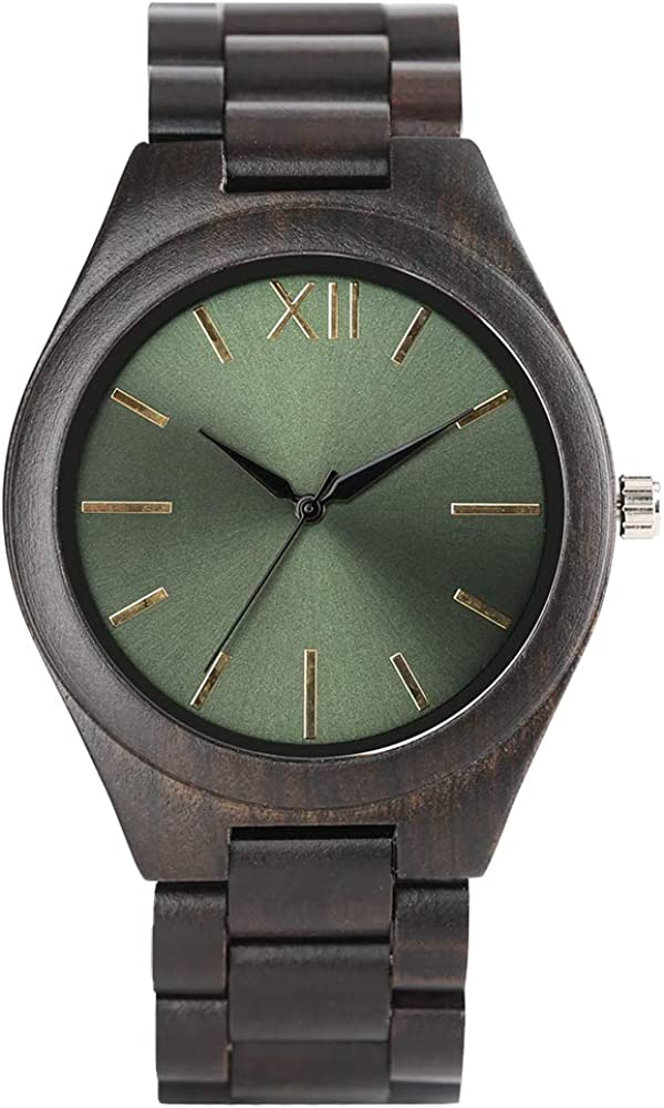 Nature Ebony Wood Watch, Men Creative Watches Quartz Fashion Casual Women Watches, Bamboo Wristwatch Bracelet
