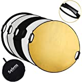 Selens 5-in-1 43 Inch (110cm) Portable Handle Round Reflector Collapsible Multi Disc with Carrying Case for Photography Photo Studio Lighting & Outdoor Lighting