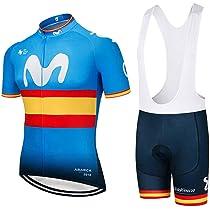 WOLFIRE WF Traje de Ciclismo para Hombre de Equipos. Culotte y Maillot. con 5D Gel Pad. para MTB, Spinning, Bicicleta de Carretera (Movistar e, L): Amazon.es: Deportes y aire libre