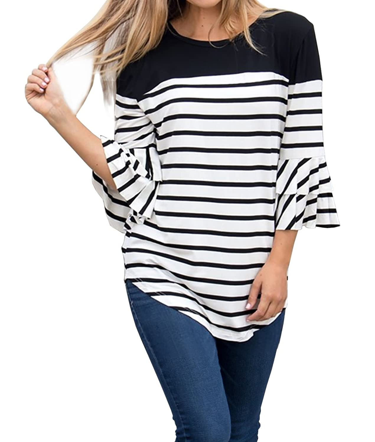 9ee907879 FISACE Womens 3/4 Ruffle Sleeve Striped Curved Hem Crewneck Tunic Tops  Blouse Plus Size