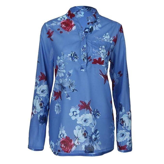 Beatow Camisa de Gasa a Cuadros Mujer Plus Size Gasa con Estampado Floral Blusa de Manga