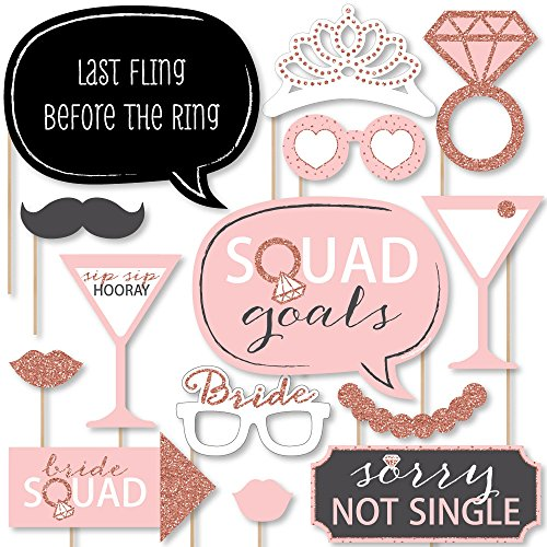 Big Dot of Happiness Bride Squad - Rose Gold Bridal Shower or Bachelorette Party Photo Booth Props Kit - 20 Count