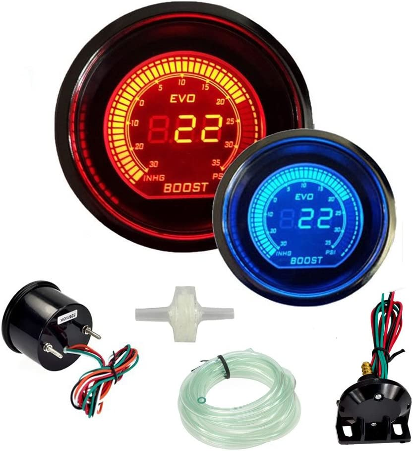 "DOXINGYE Hot 2"" 52mm Turbo Boost Vacuum Gauge Psi 12V Car Blue Red LED Light Tint Lens LCD Screen Auto Digital Meter instrument Universal Back to product details"