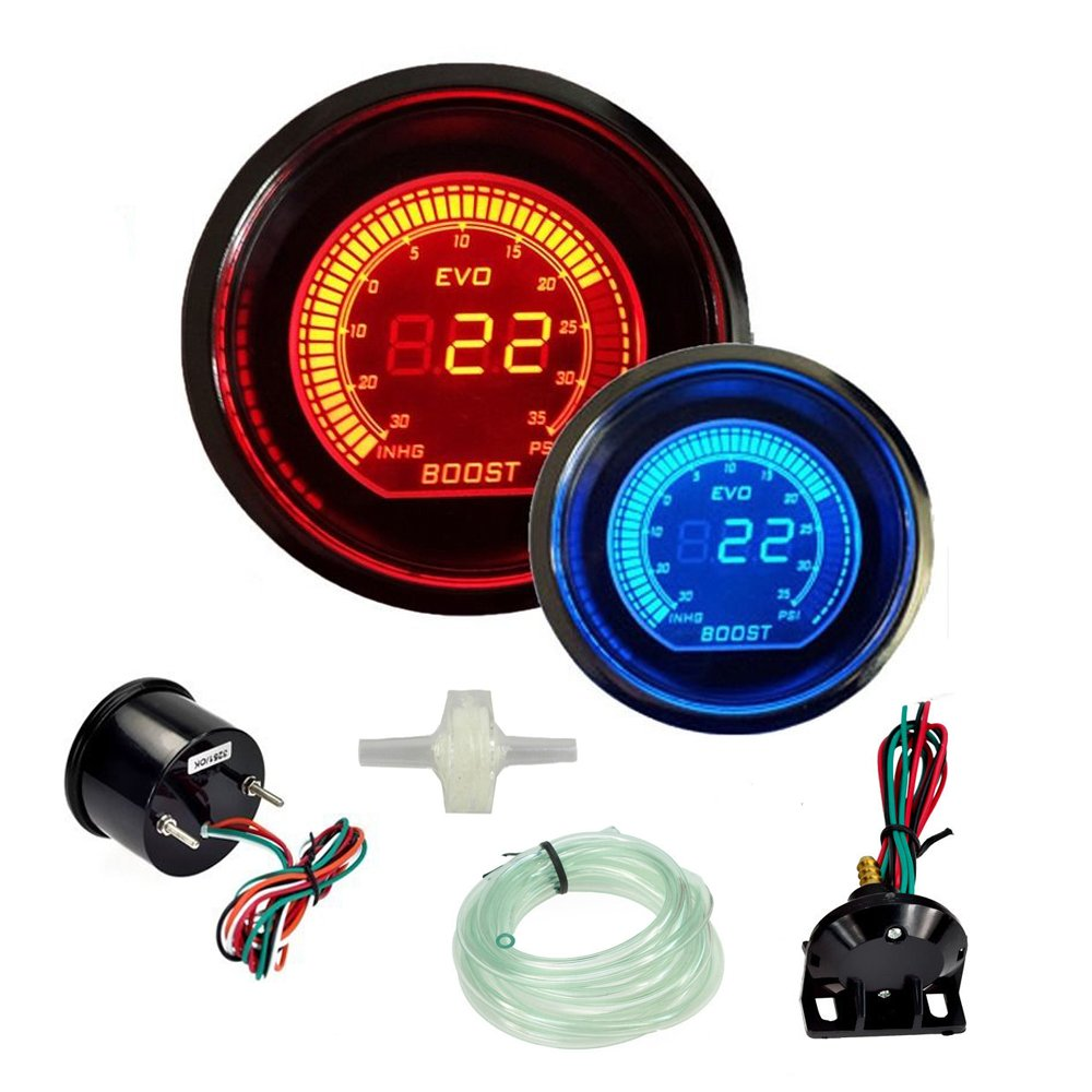 DOXINGYE Hot 2' 52mm Turbo Boost Vacuum Gauge Psi 12V Car Blue Red LED Light Tint Lens LCD Screen Auto Digital Meter instrument Universal Back to product details
