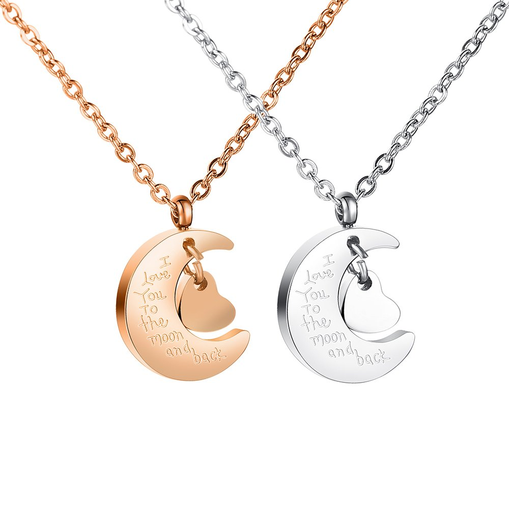 Couple Friendship Family Necklace I Love You To The Moon And Back Long Distance Relationship Stainless Steel Pendant Unisex Gift (Steel Color + Rose Gold)