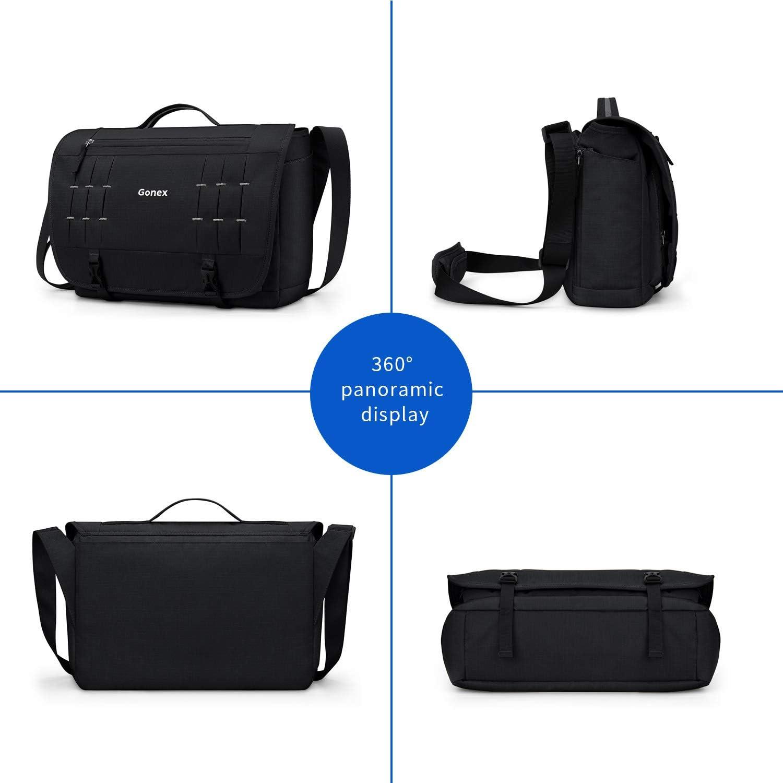 Gonex Men Messenger Bags 15 inch Laptop Bag Casual Cross-Body Schoolbag Shoulder Bag for Work Travel Business College Outdoor
