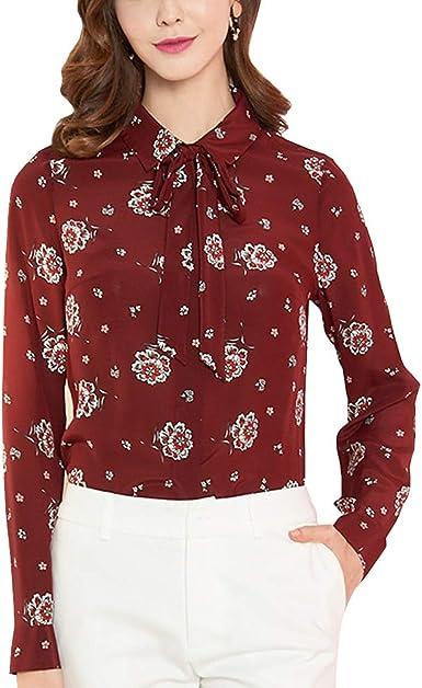 DISSA S7120 - Blusa de seda para mujer, 100 % seda, cuello de ...