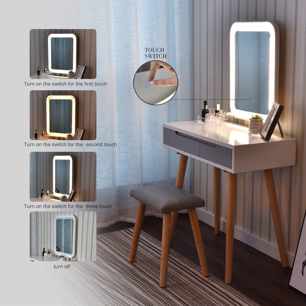 Dressing Table Vanity Makeup Table with Free Make-up Organizer Vanity Table Set with Adjustable Brightness Mirror and Cushioned Stool