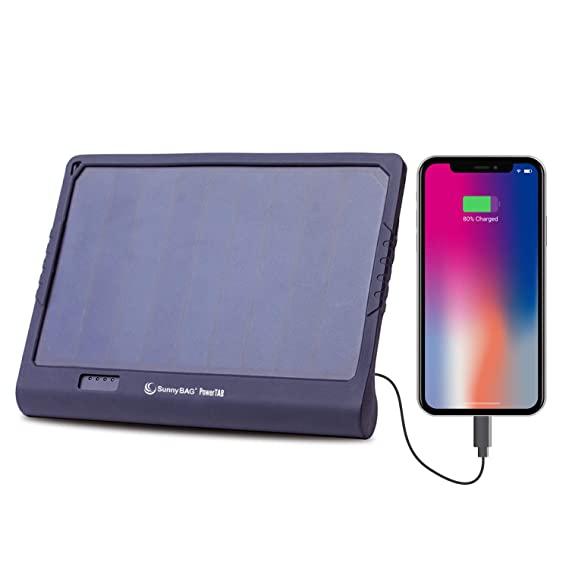 Sunnybag POWERTAB solar panel incl. 5.000 mAh power bank | charges smartphones with solar energy | incl. protection frame, lightning adapter, dual USB ...