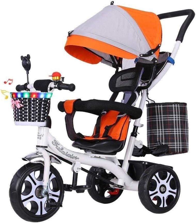 xy Triciclos Bici del Bebé Niños Triciclos 4 En 1 Triciclos Trike For 1-6 Años De Edad: con Marco De Acero Retro Asiento Ajustable con El Pabellón del Cochecito Convertible Trike 4 Colores