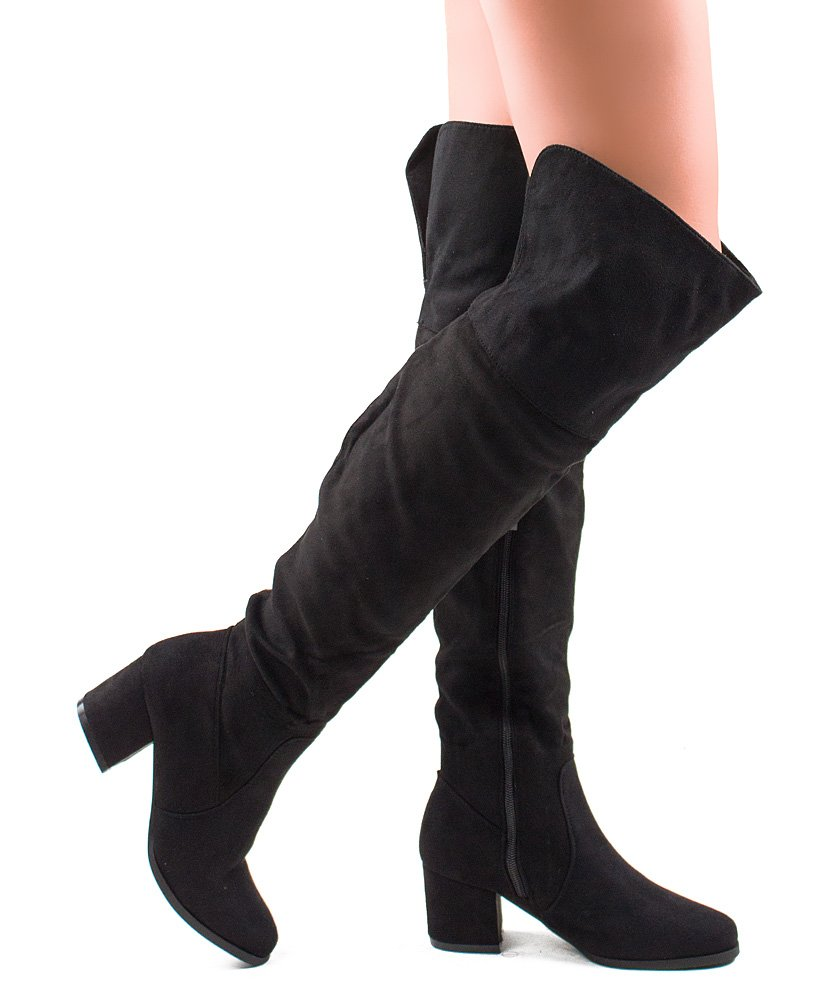 Paris-22 Women's Fashion Faux Suede Block Chunky Heel Over The Knee High Boots Black (6)