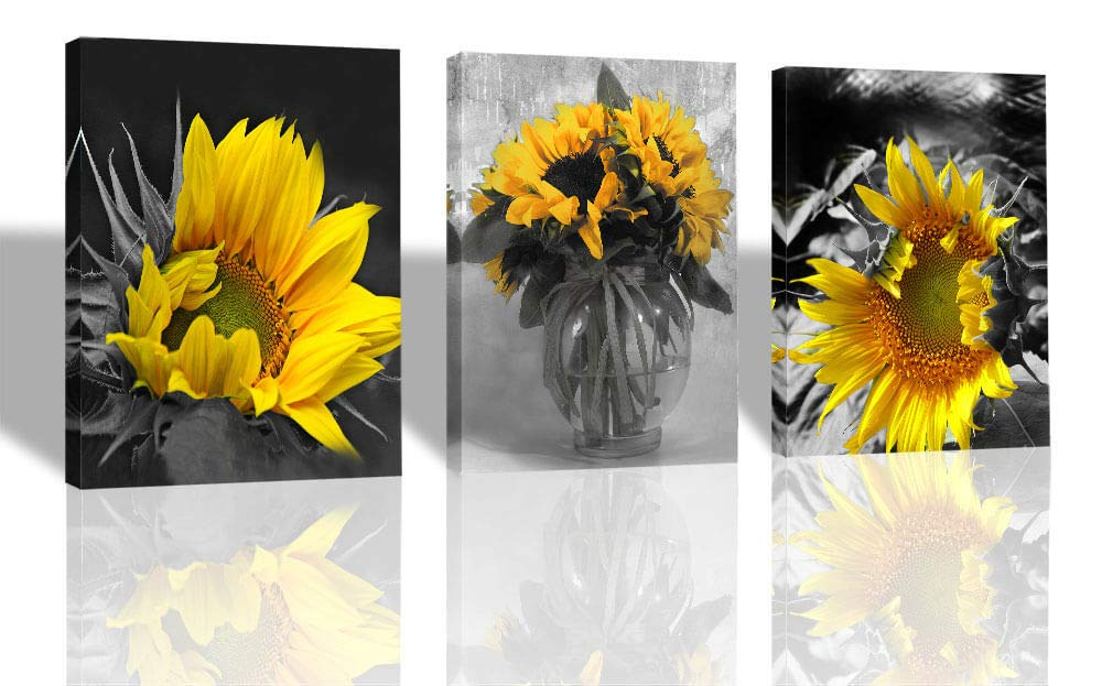 "Ardemy Canvas Wall Art Flowers Yellow Sunflower Painting Prints, 3 Panels Florals Black and White Modern Pictures for Bedroom Bathroom Living Room Spa Salon Wall Decorations, 12""x16""x3 pcs"