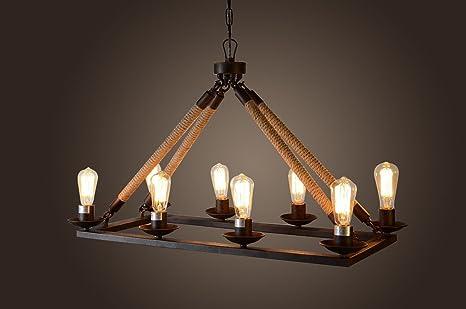 Wonderful 8 Bulbs Edison Chandelier Rectangular Rope Iron Finish Pendant Lamp D35u0027u0027