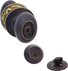 AmazonBasics Entry Door Knob With Lock and Deadbolt, Oval Egg, Oil Rubbed Bronze