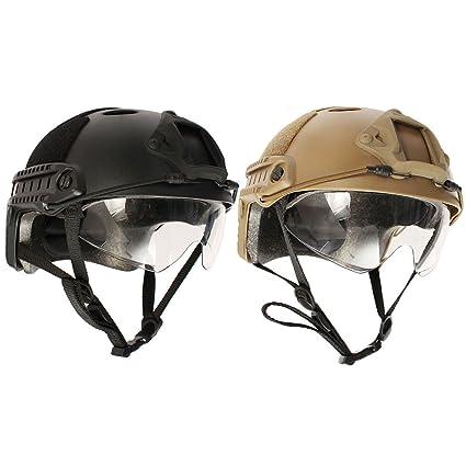 Abs Unique - Casco Táctico DE 17 cm con Gafas de Natación para Airsoft y Paintball