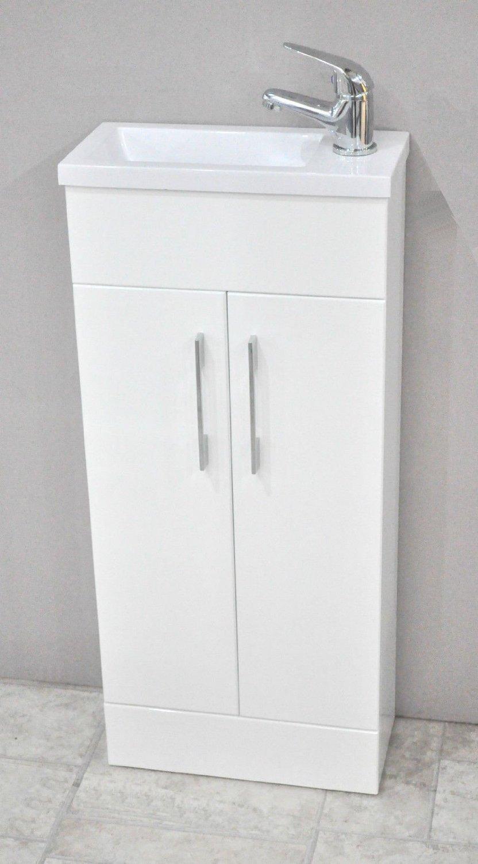 Hansvit Minimo bianco quadrato mobili da bagno guardaroba mobiletto lavabo con 370/x 180/ mini lavabo lavabo un scanalato rifiuti