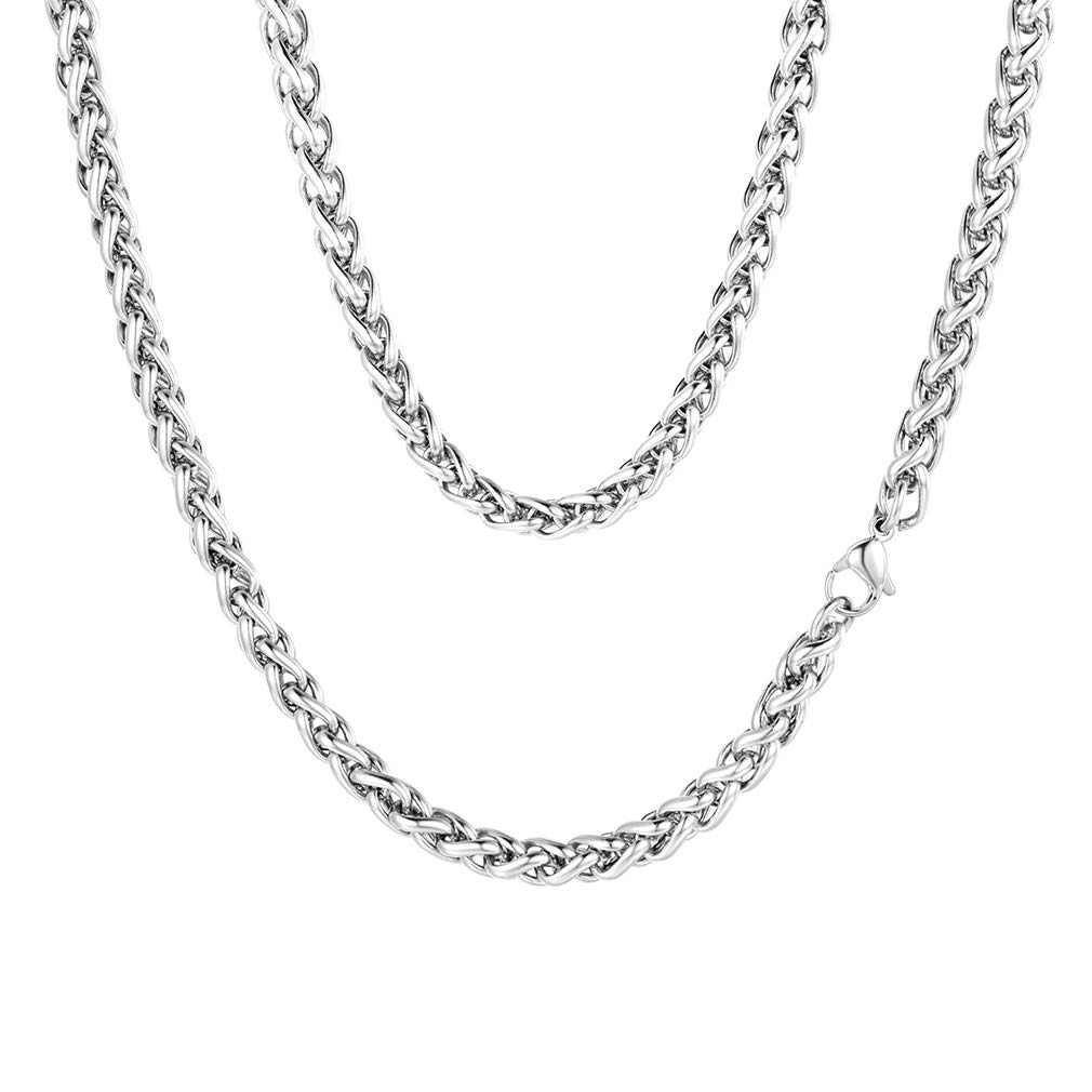FaithHeart 3//6 MM Twisted Spiga Wheat Chain Necklace Anklet with Gift Box Customize Available 18//20//22//24//26//28//30 Inches 316L Stainless Steel//18K Gold Plated Daily Chains Anklets for Men//Women