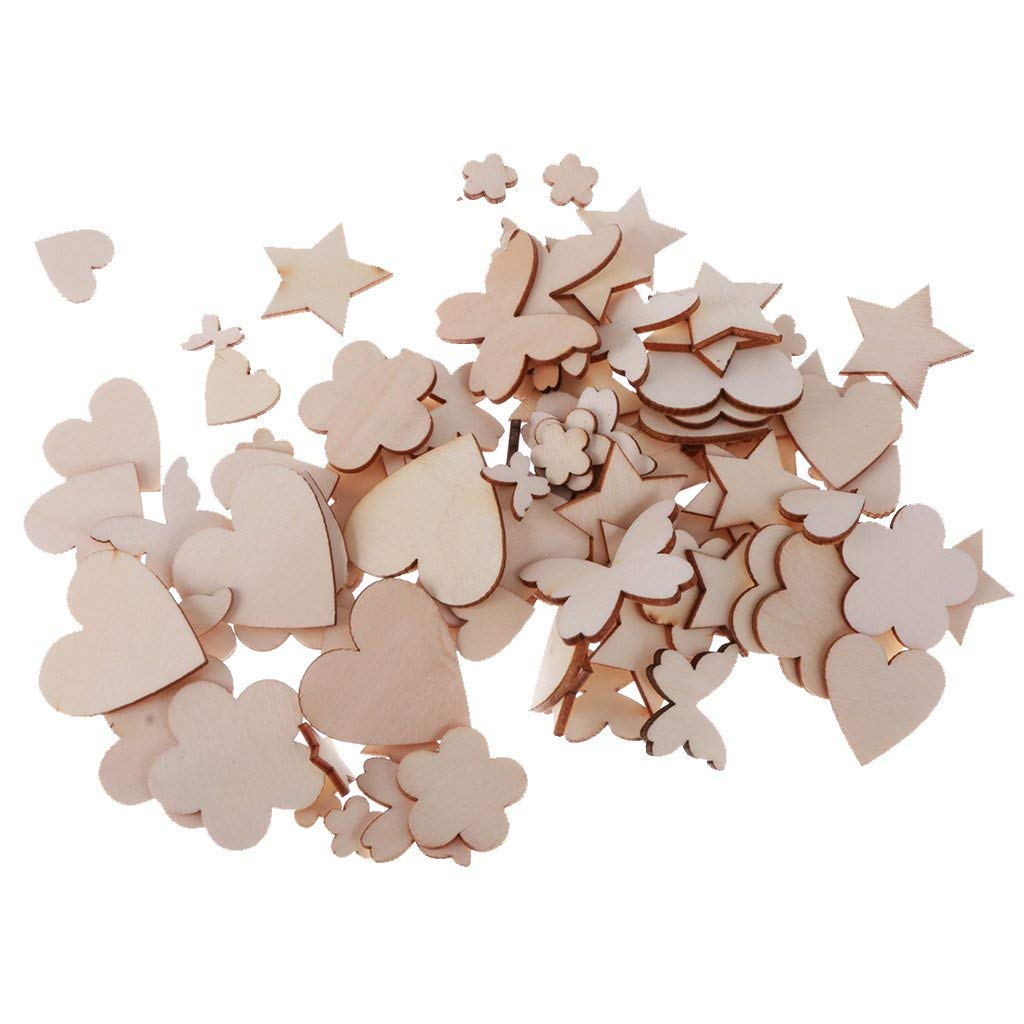 Yevison Pack of 100 Assorted Wooden Shape Hearts Plum Flower Star Embellishments for Scrapbooking Craft Durable and Useful