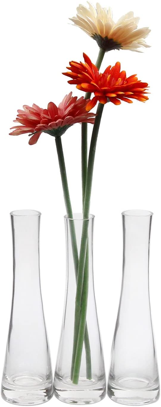 ComSaf Small Glass Vase for Flower Bud Home Decor Clear 8.5 Inch, Pack of 3