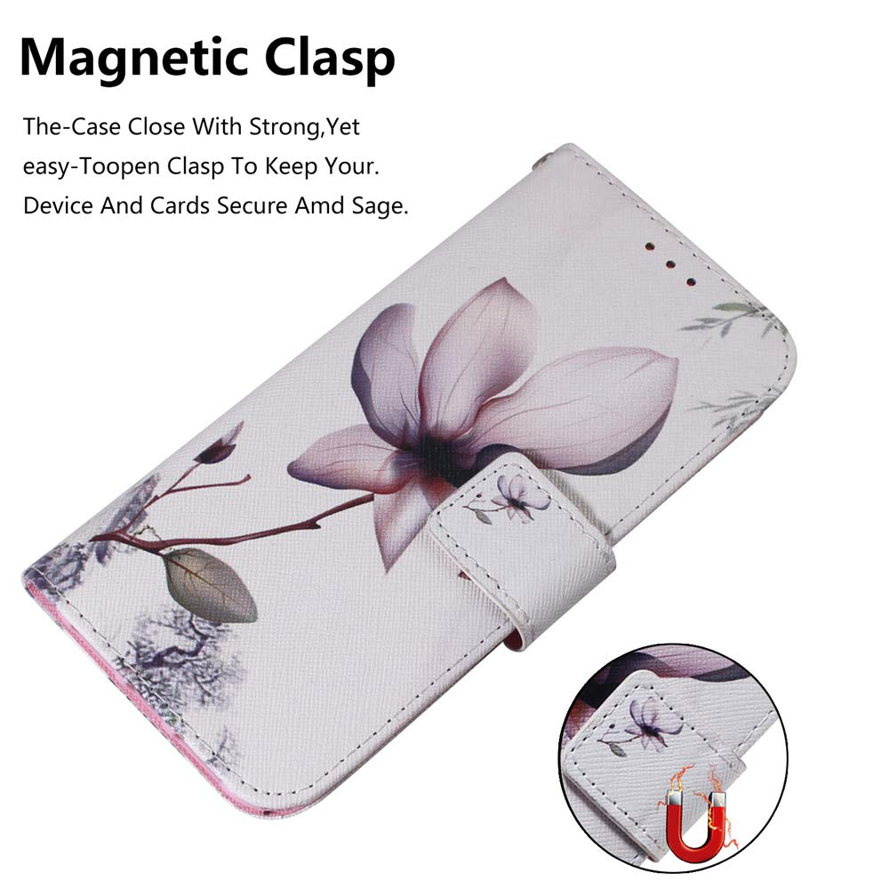 LEECOCO LG G8 ThinQ Case Cover Shockproof White Lotus Elegant PU Leather Flip Card Slot Wallet Case Magnetic Stand Card Slot Folio Case for LG G8 ThinQ G8S ThinQ White Lotus TX