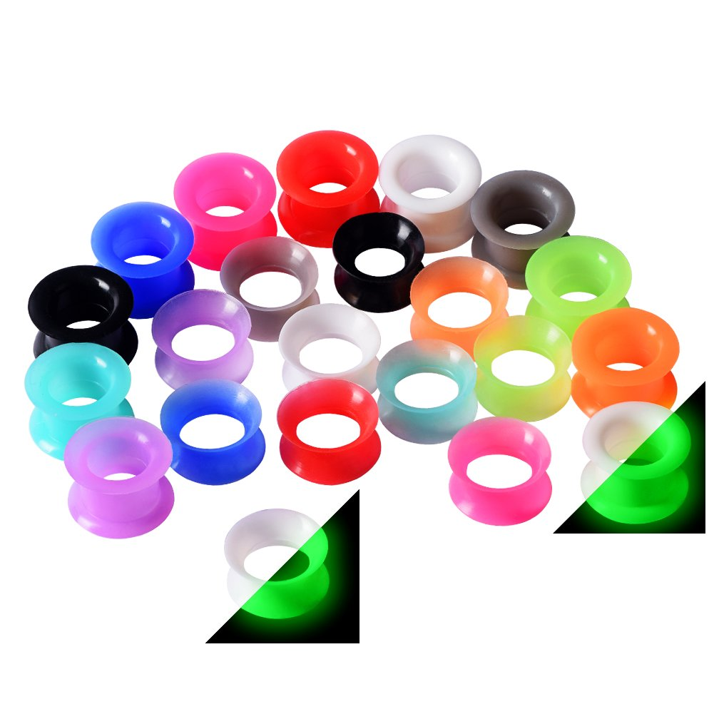 22pcs Thin Silicone Tunnels & 22pcs Thick Silicone Tunnels Ear Gauges Flesh Tunnels Plugs Stretchers Expander 5/8''(16mm)