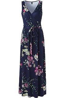 9aedc2d96e8a8 Zattcas Womens Casual V Neck Sleeveless Empire Waist Vintage Floral Maxi  Dress